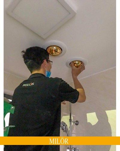 Đèn sưởi nhà tắm âm trần 1 bóng milor cao cấp