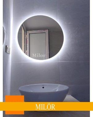 Gương treo tường tròn led hắt Milor kích thước 60cm