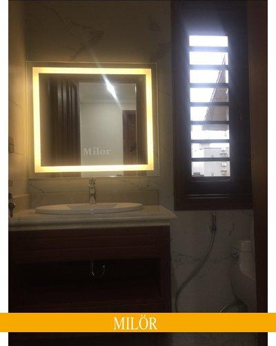 Gương treo phòng tắm Vuông led vàng Milor