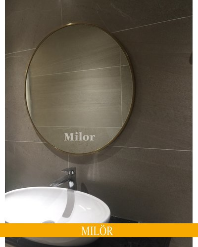 Gương elip inox mạ vàng cao cấp Milor 60 x 80cm