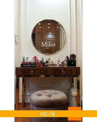 Gương tròn khung inox  bàn trang điểm 80cm