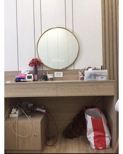 Gương treo tường trang điểm decor vành vàng 50cm