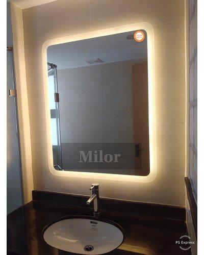 Gương đèn led vàng bo góc phun cát trong hình chữ nhật milor