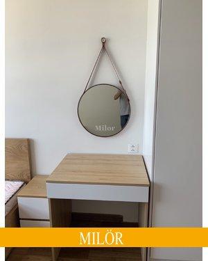 Gương tròn dây da trang điếm milor 40cm