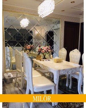 Gương ghép tường bàn ăn phòng khách Milor