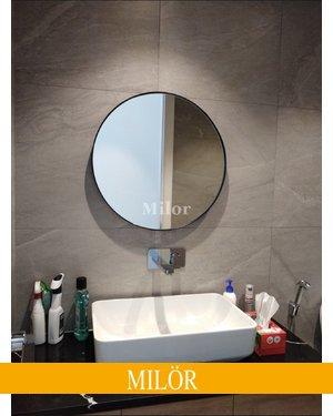 Gương phòng tắm tròn decor Optiama 60cm