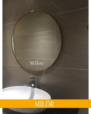 Gương elip inox mạ vàng cao cấp Milor 60cm