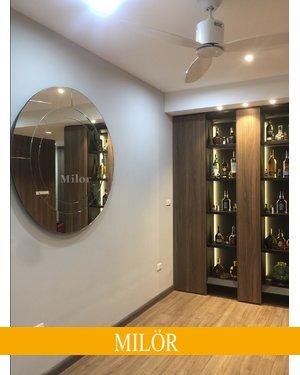 Gương tròn phòng khách treo tường Milor cao cấp