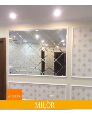 Gương bỉ ghép tường phòng khách Milor
