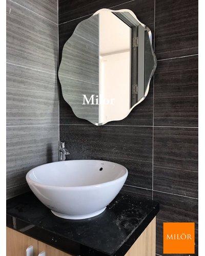 Gương phòng tắm tròn mài vát nghệ thuật milor 543C