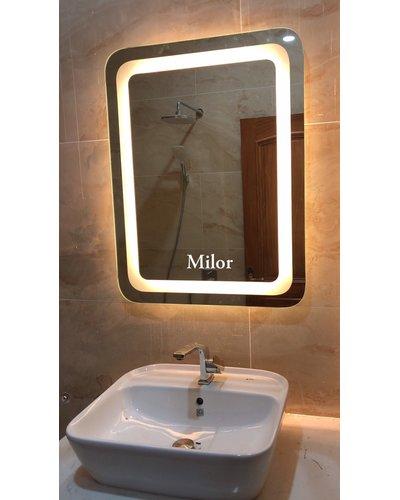 Gương đèn led phòng tắm bo góc Milor