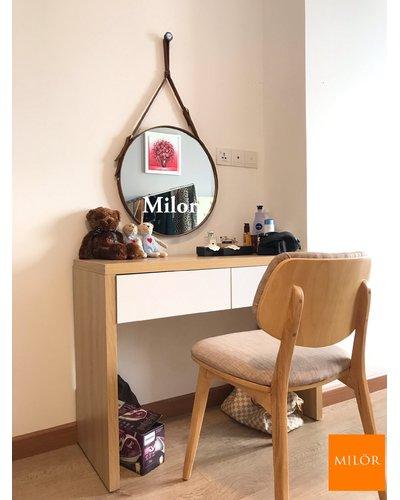 Gương trang điểm tròn dây da bò 50cm Milor