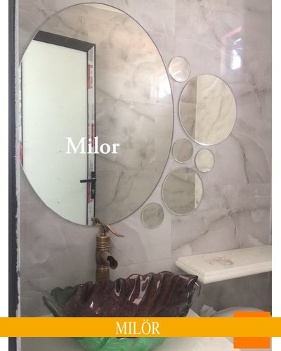 Gương phòng tắm decor nghệ thuật mài vát elip Milor