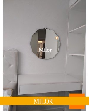 Gương trang điểm tròn mài vát nghệ thuật milor 70cm