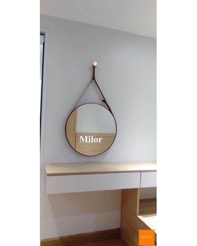 Gương bàn trang điểm dây da nâu phi 50cm Milor