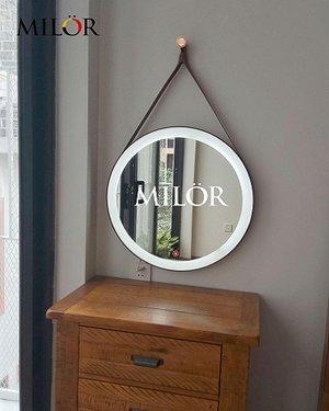 Gương tròn dây da đèn led trang điểm Makeup Milor 50cm