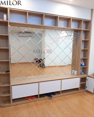 Gương ghép tường phòng khách cao cấp hiện đại