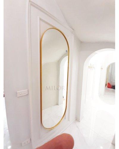Gương soi toàn thân vòm vành thép vàng