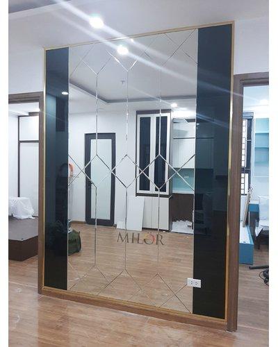 Gương dán tường nghệ thuật phòng khách đẹp Hà Nội